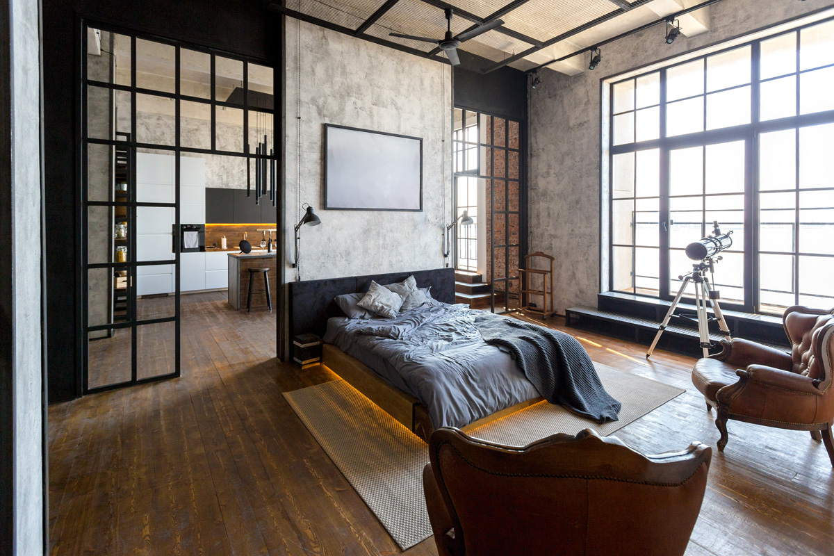 industrial themed room
