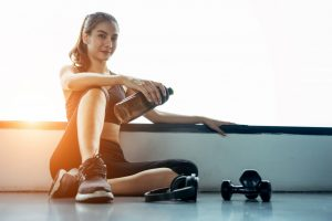 woman resting after working out